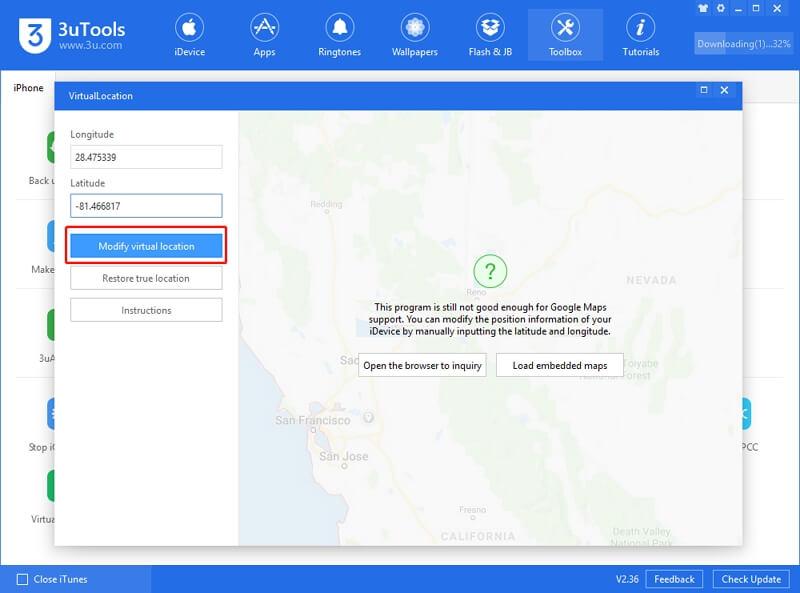 Modify virtual location