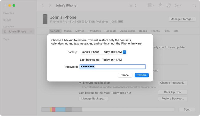 restore an iTunes backup