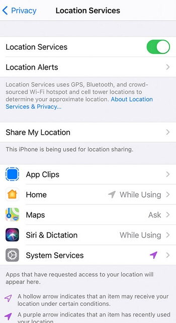 """turn off the toggle next to """"Location Services"""""""