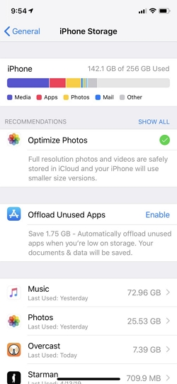 Check the iPhone Storage