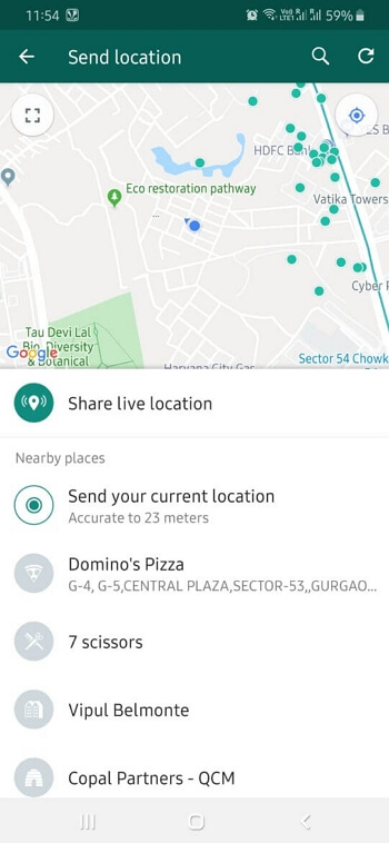 share your live location