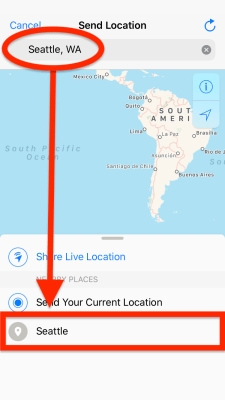 Select a location from the map manually