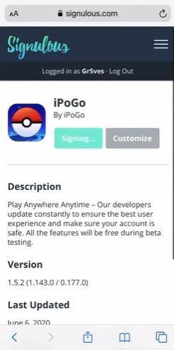 choose 'Sign App'