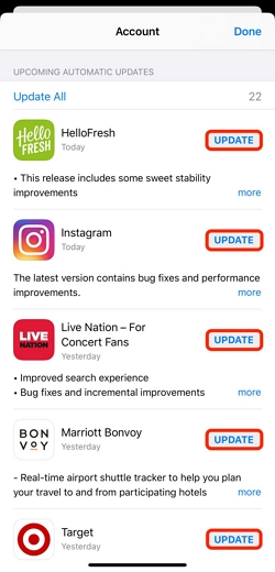 Install Pending Updates for Apps